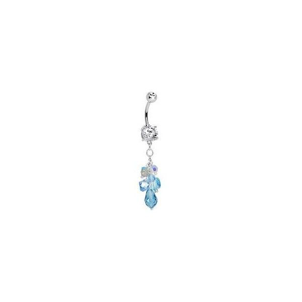 Handcrafted Double Clear Gem Summer Breeze Dangle Belly Ring ❤ liked on Polyvore featuring jewelry, rings, piercings, dangle rings, clear rings, belly button rings jewelry, handcrafted jewelry and hand crafted rings