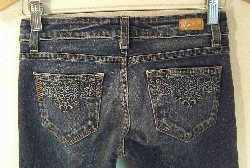 9f8d9128c22 Paige Premium Denim Size 25x28 Jeans Crop Embroidered Pocket Stretch  Roxbury #Paige #Cropped