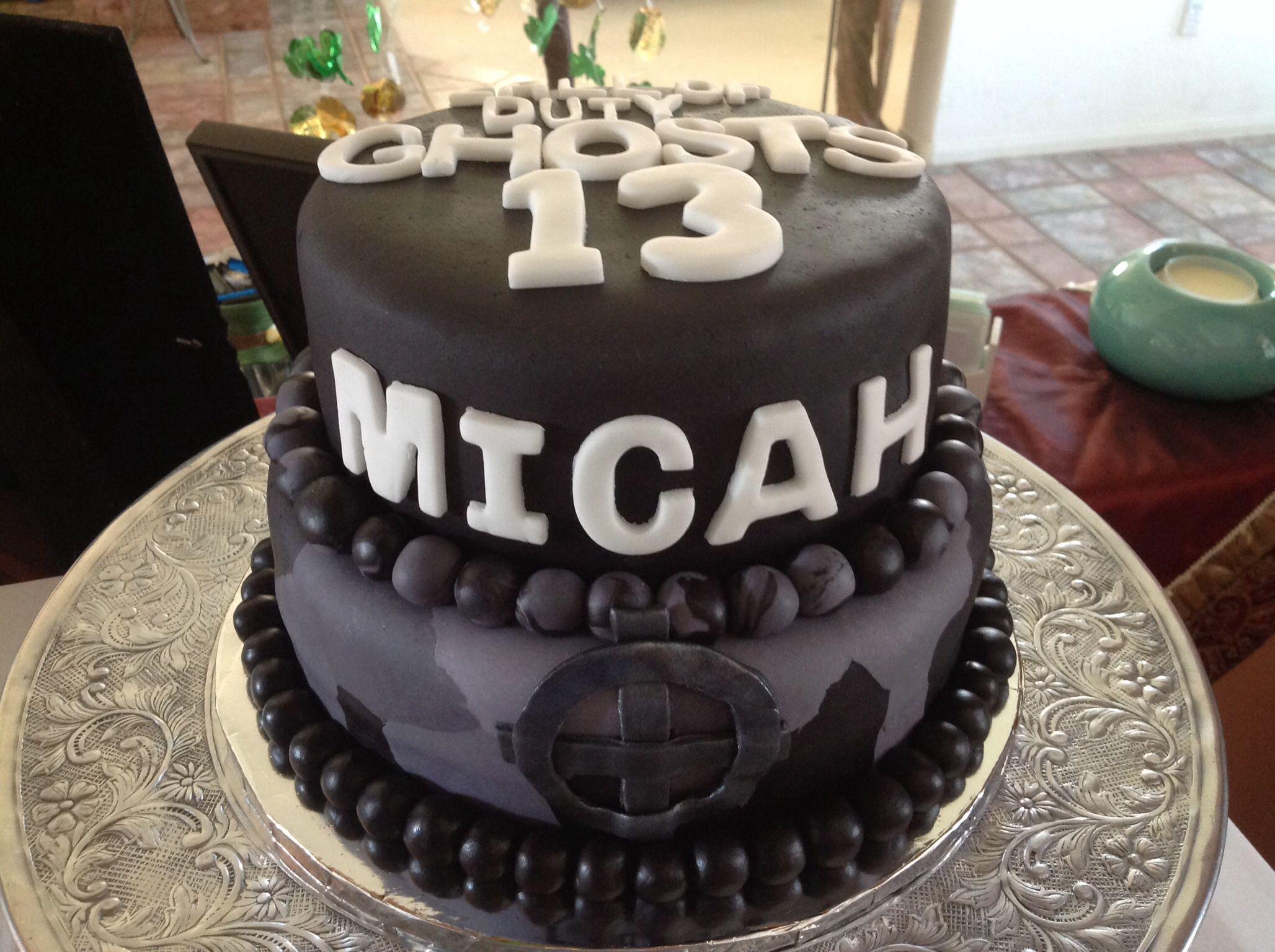 Call of Duty Ghosts Cake for boys birthday. Chocolate cake