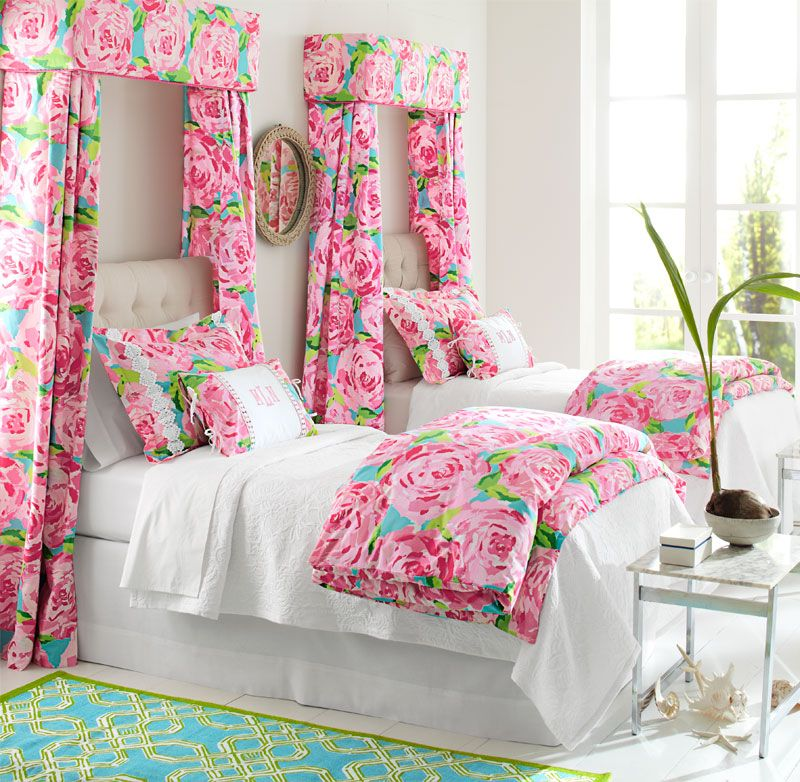 Decoration : Beautiful And Elegant Design Of The Lilly Pulitzer Room Decors  With Nice Flower Curtain Beautiful And Elegant Design Of The Lilly Pulitzer  Room ...