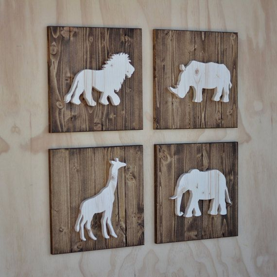 A Beautiful Handmade Set Of 4 Safari Animal Cutouts On Wooden Plaques The Are 13x13 Each And Hand Cut From 3 Solid Pine