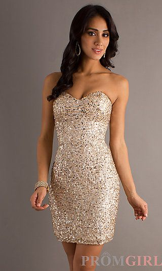 Short Strapless Sequin Dress by Scala 47549 at PromGirl.com