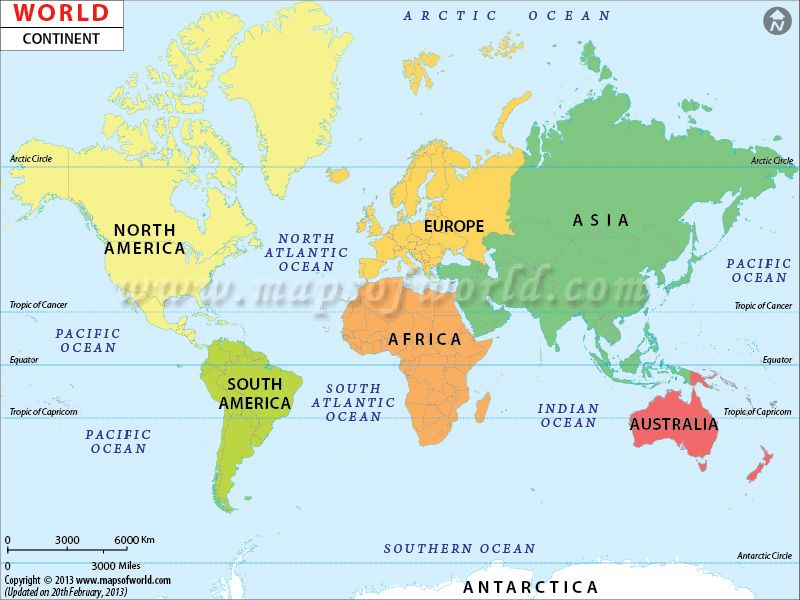Map Of World Continents Continents of the World, Map of Continents and Oceans | World map