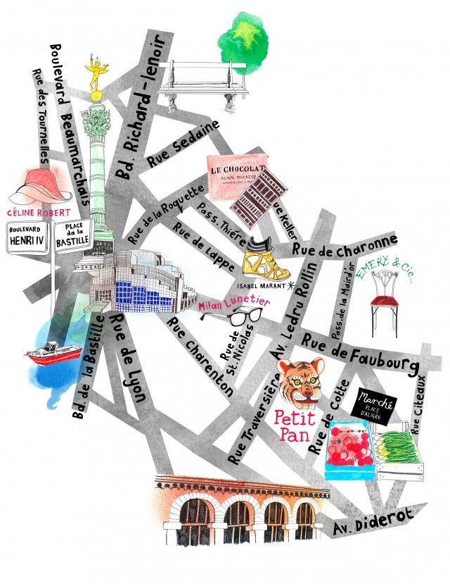 Bastille Map Paris Hennie Haworth MAP 美 Beauty Pinterest - Map of paris bastille