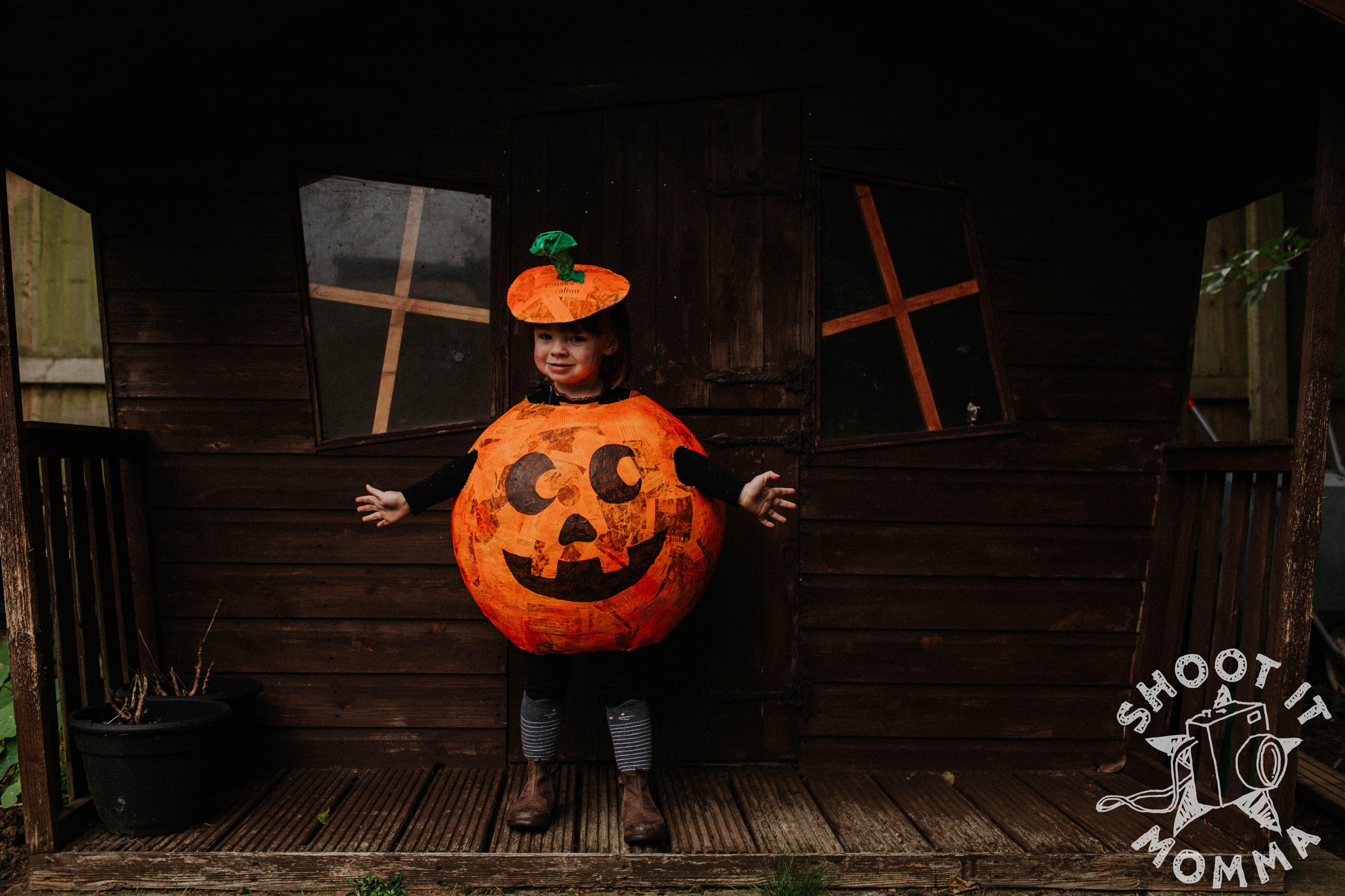 Paper mache homemade halloween pumpkin costume Wedding
