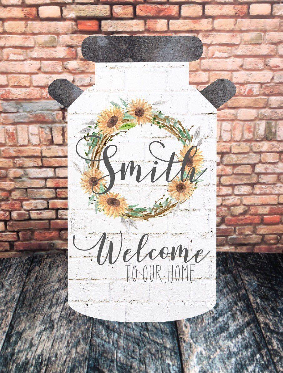 Sunflower Milk Can Door Hanger, Personalized Door