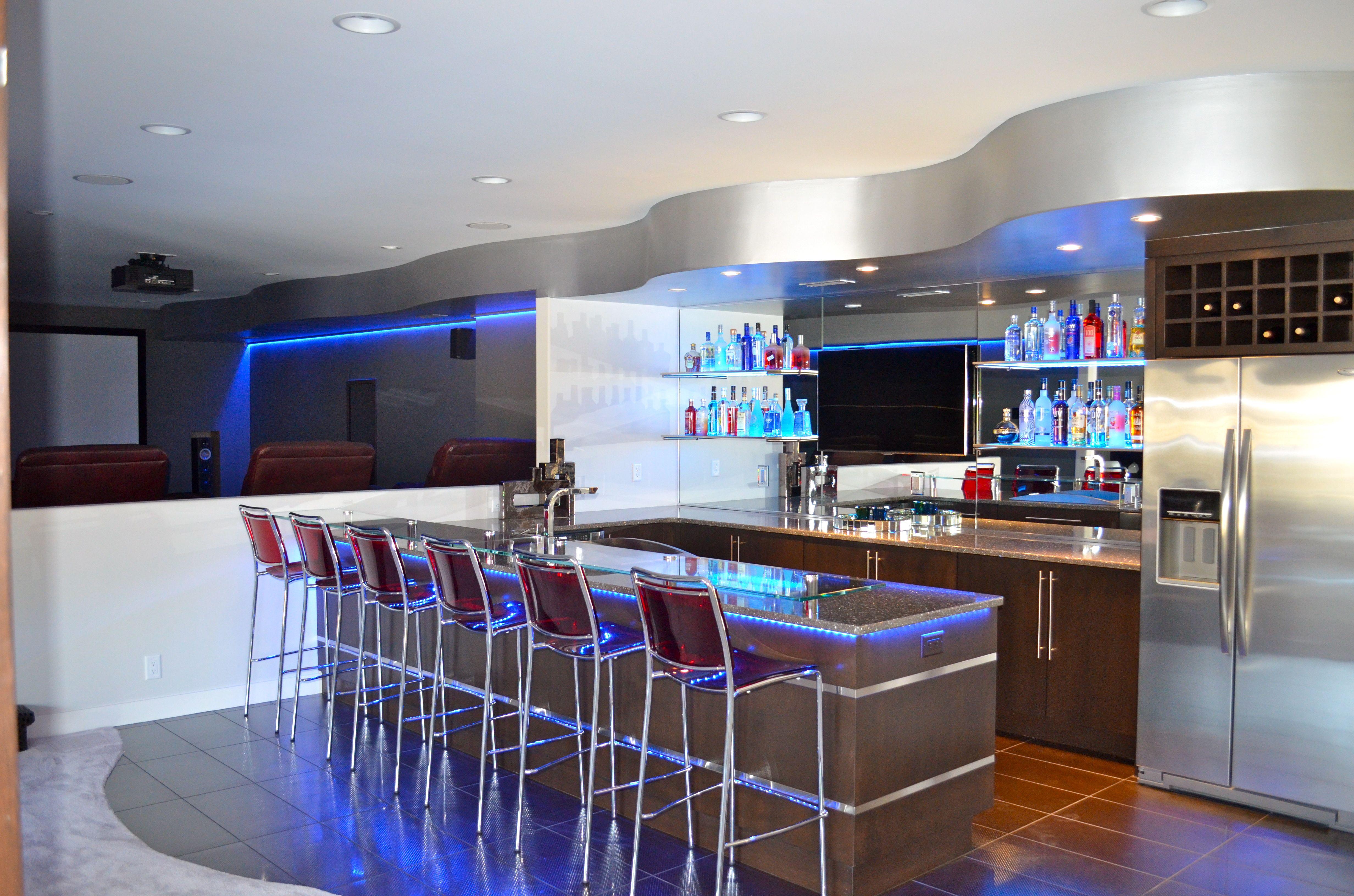 Basement Bar Contemporary Illuminated Shelving Basement Bar