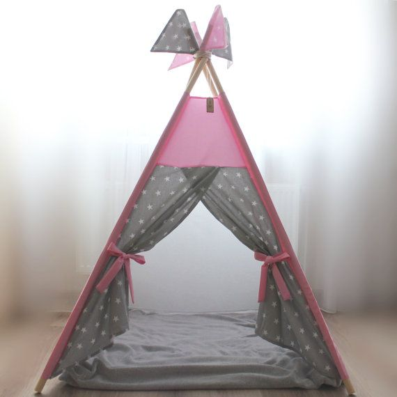 Kids teepee pink gray stars  Playhouse  Play tent  by KidsTeepee