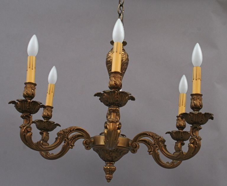 Antique Brass Chandelier Circa 1920's - Antique Brass Chandelier Circa 1920's Antique Brass Chandelier
