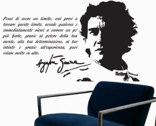 Wall Stickers Ayrton Senna Adesivi Murali Decorazione Pareti Frasi