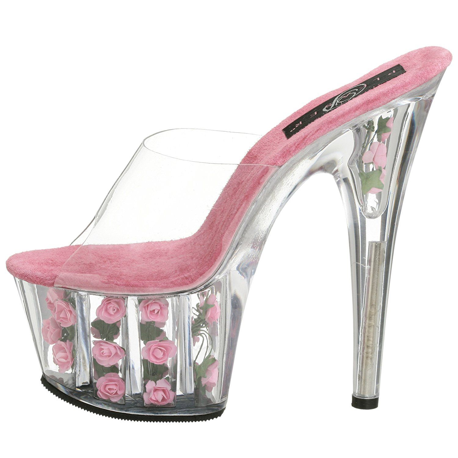 Pleaser Adore 701FL(Women's) -Clear/Hot Pink Flowers Free Shipping Geniue Stockist I8Guj2op