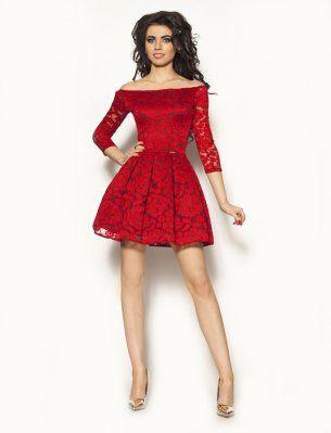 8b341dee Czerwona Sukienka Koronkowa Model:MOR-2201 | Sukienki Bal | Sukienka ...