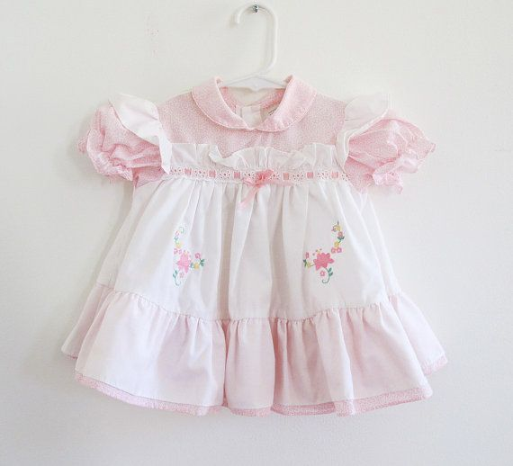 5a9318fe4b1 80s Baby Girl Pink Floral Eyelet Lace Embroidered Dress by retrorocketbaby  on Etsy