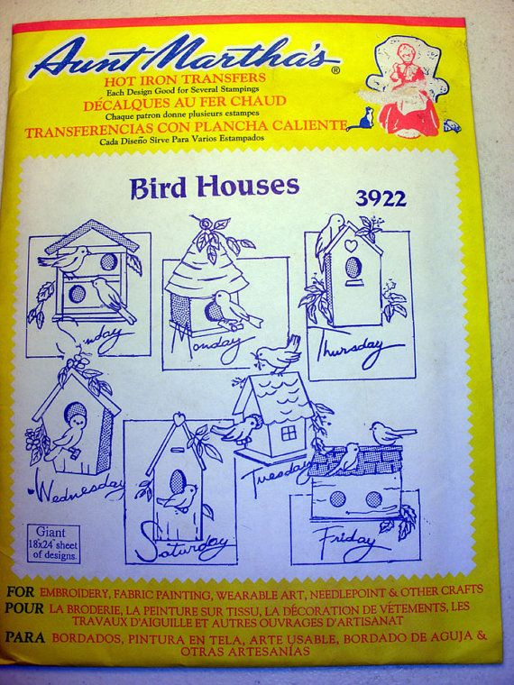 Aunt Marthas Bird Houses Hot Iron Transfer Pattern 3922 For