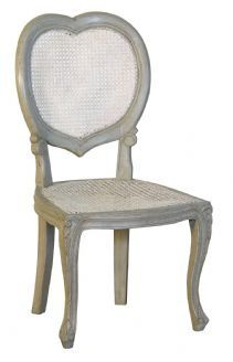 French Style Isabella Green Grey White Heart Dressing Table Chair