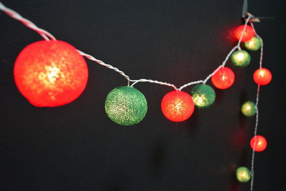 35 Lights - RedGreen 2 Color Christmas Set Cotton Ball String