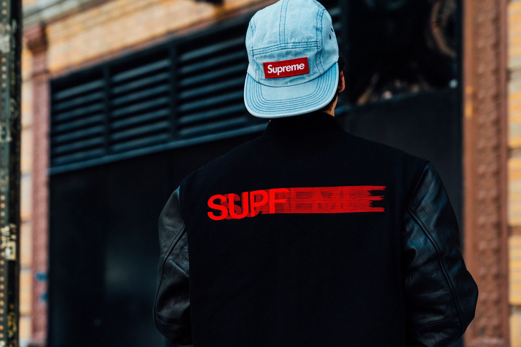 c7a0a45d51bcf supreme fall winter 2018 drop day varsity jacket motion blur denim hat box  logo