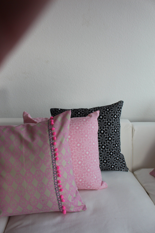Kissen Set 3er Beige Rosa Schwarz Neonpink 50x50 Kissenbezug
