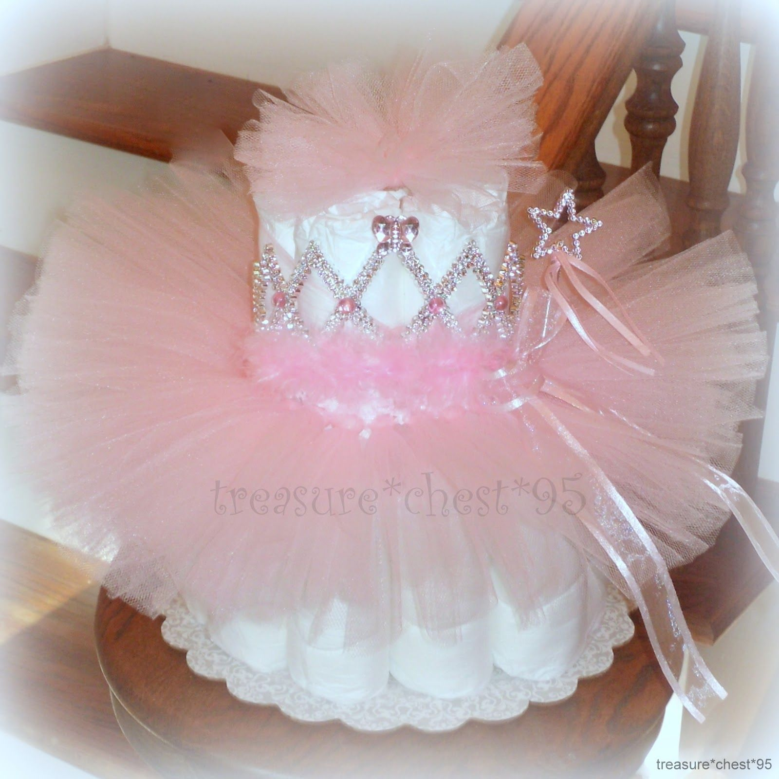 Tutu diaper cake baby shower centerpiece pink girl for Pink diaper bouquet