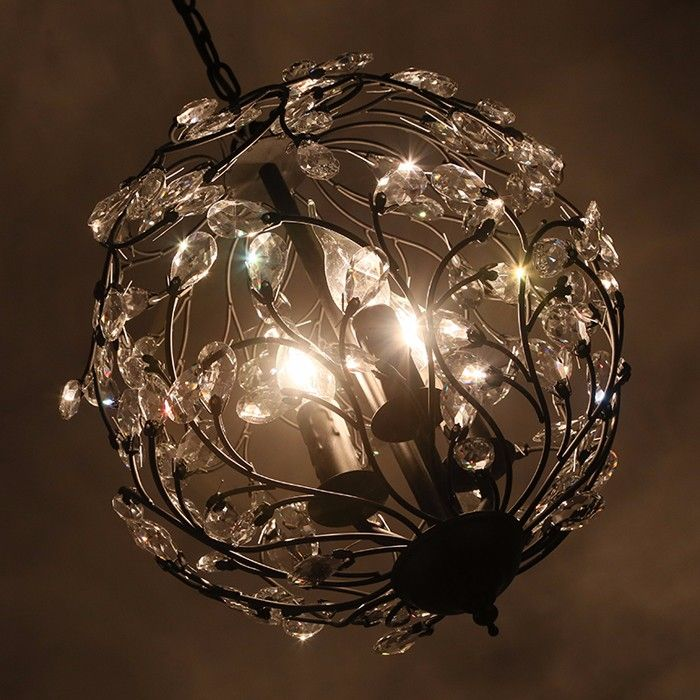 Photo of creative spherical iron crystal large decorative chandelier for home and hotel