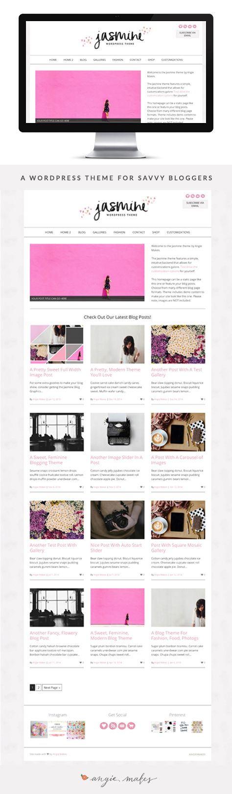 The Jasmine WordPress theme by Angie Makes is perfect for bloggers, small business owners, etc. It has a ton of post options and image galleries. Super customizable too!