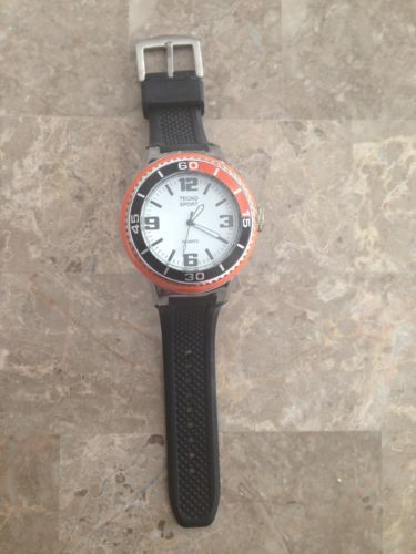 Tecno Sport Unisex Quartz Oversized Wrist Watch Orange Black Rubber