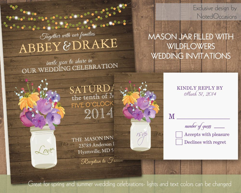 Rustic Mason Jar Country Wedding Invitations By Notedoccasions 50 00