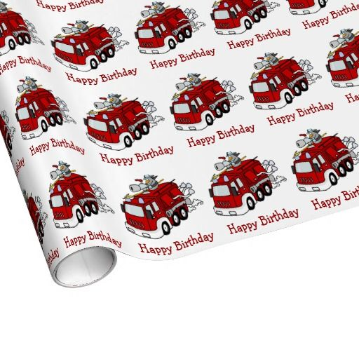 Fire Engine Truck and Fireman Boys Happy Birthday Gift Wrapping Paper