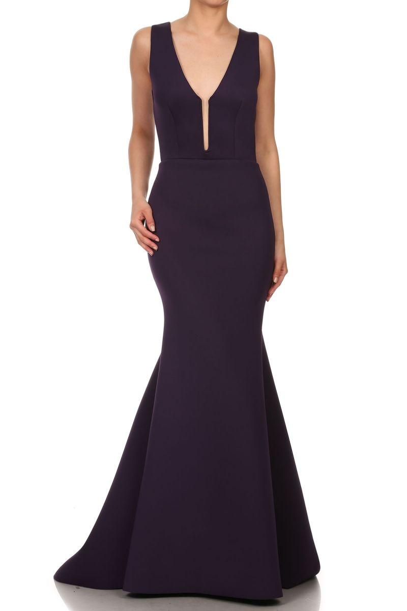 Solid color floor length trumpet shape evening dress with deep v