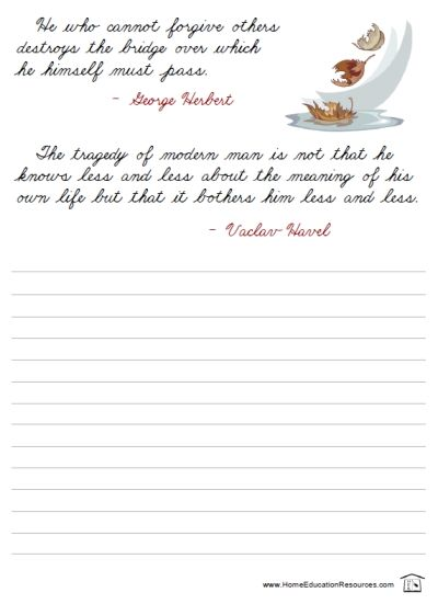 free quotations cursive printable packet for handwriting. Black Bedroom Furniture Sets. Home Design Ideas