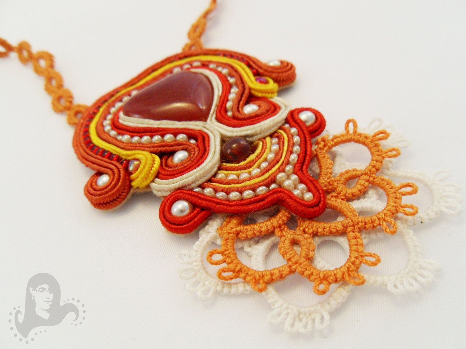Soutache and tatting autumn colors necklace - Heart in Flames - orange and red soutache pendant on tatted chain. $75.00, via Etsy.