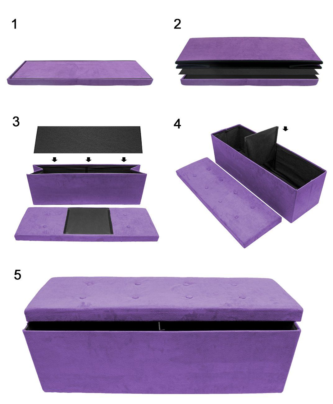 Sorbus Storage Ottoman Bench – Collapsible/Folding Bench