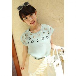 $5.93 Burnt-Out Scoop Neck Short Sleeves Ladylike Style Chiffon T-Shirt For Women