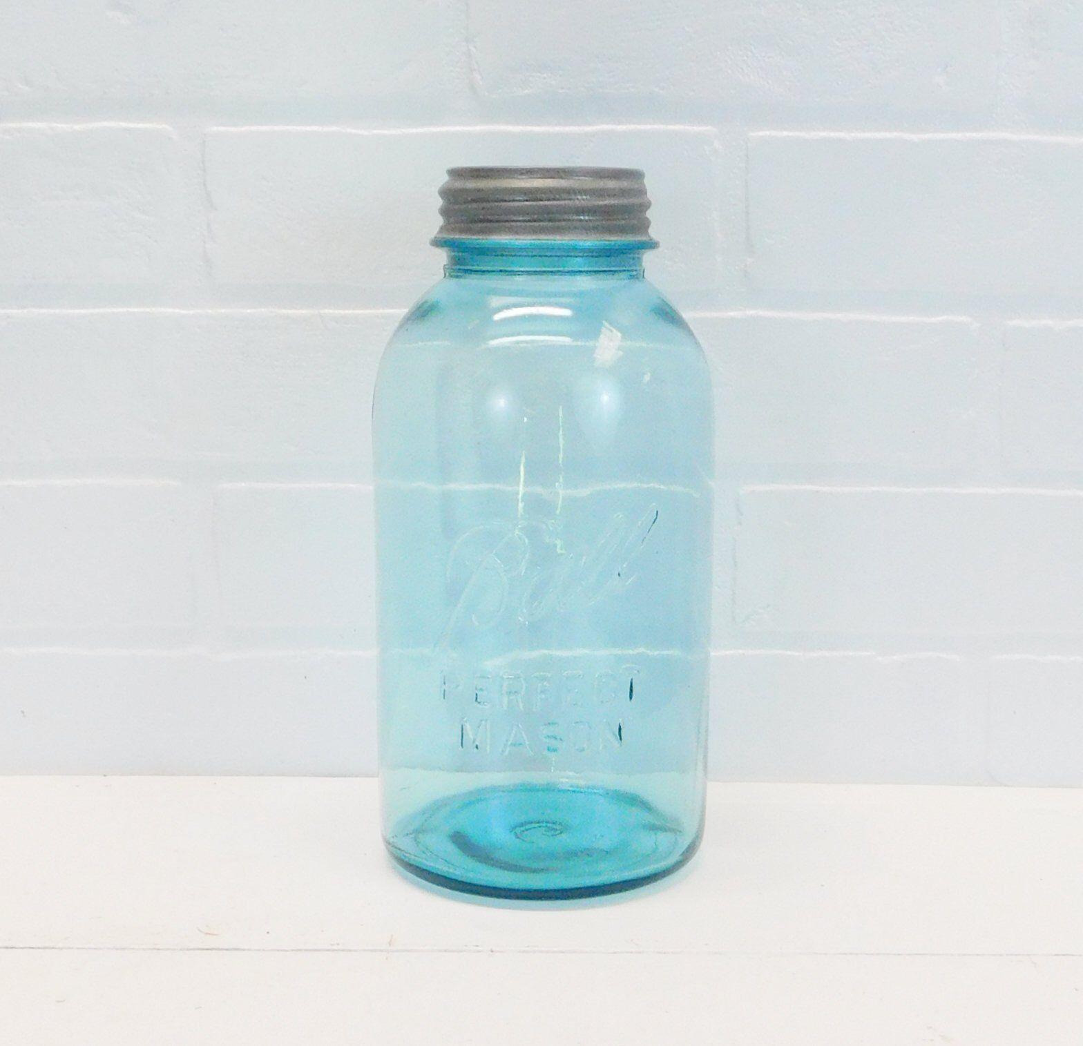 Vintage Blue Ball Mason Jar, Half Gallon Jar with Zinc Lid