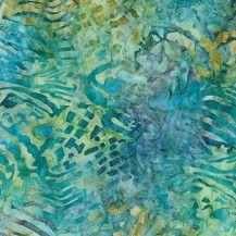 Tigerfish Batik Fabric Sea Life - Peacock