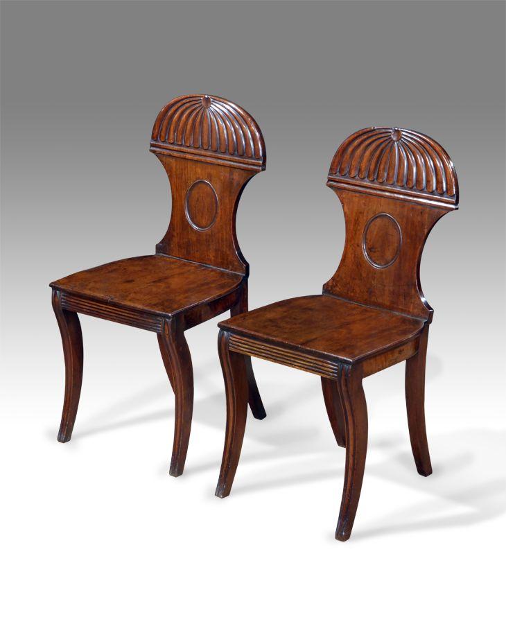 Pair of antique Regency hall chairs circa 1825 - Pair Of Antique Regency Hall Chairs Circa 1825 Regency