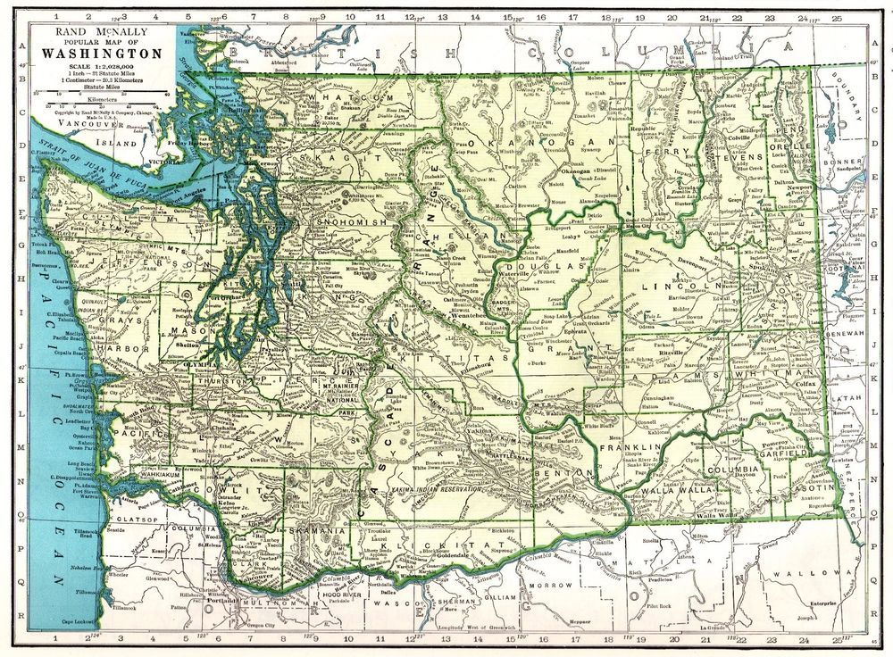 1943 Antique Washington Map Of State Gallery Wall: Vintage State Maps At Codeve.org