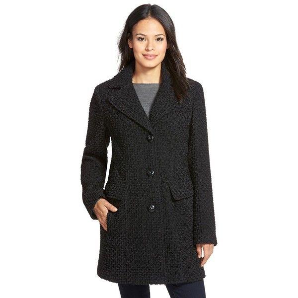 Gallery Wool Blend Basket Weave Notch Collar Coat ($170) ❤ liked ...