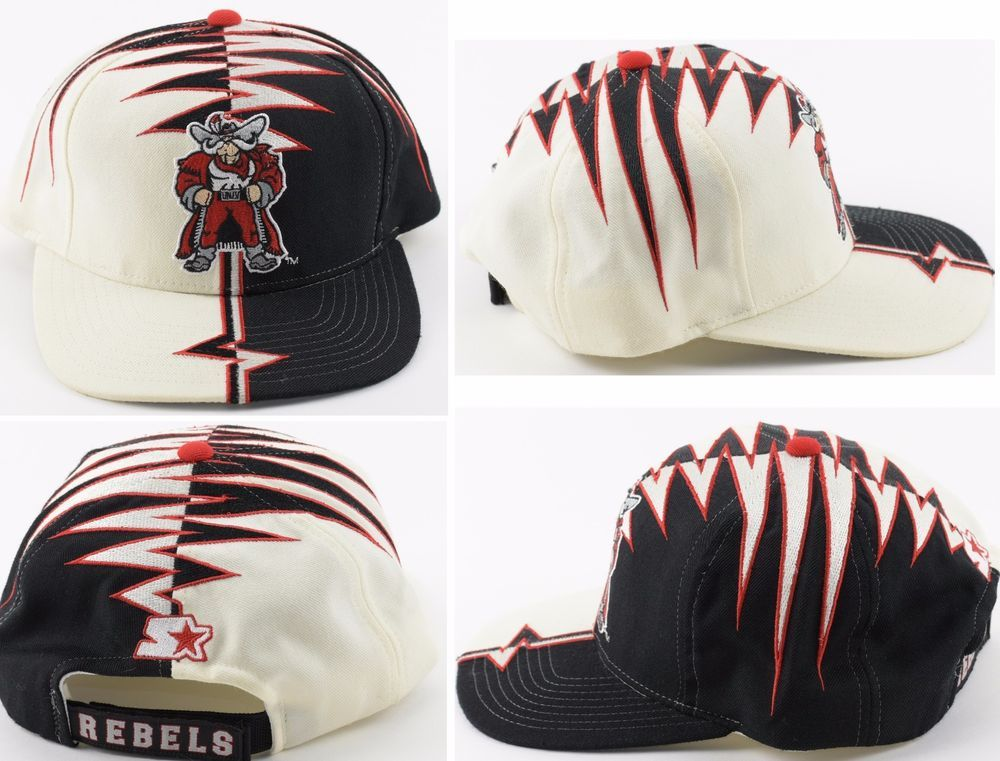Vintage Starter UNLV Rebels Shockwave Right Hat Wool Blend Velcro Snapback  Cap  476be2d5414b