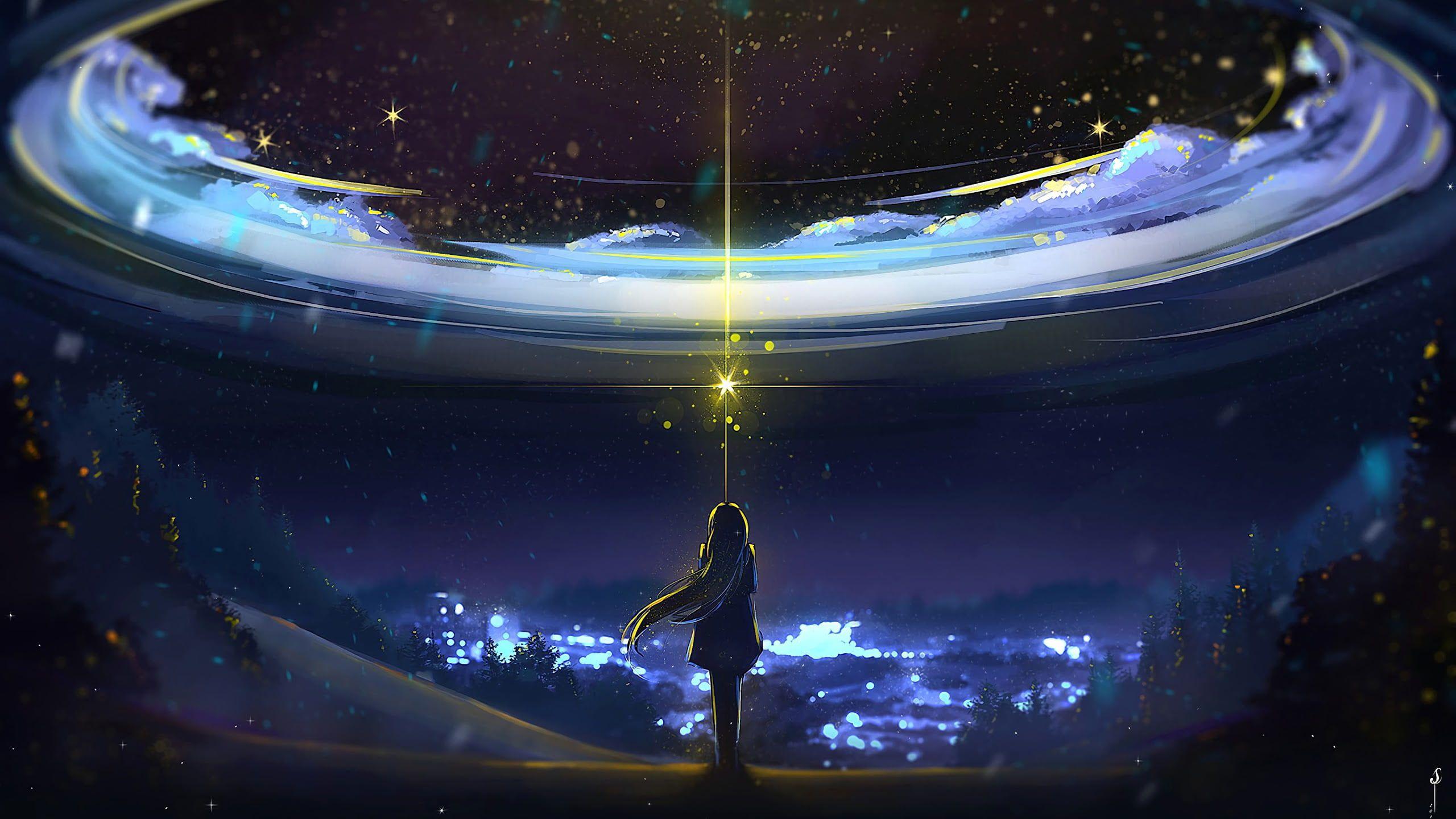 Sky Anime Night Scenery 2k Wallpaper Hdwallpaper Desktop In 2021 Sky Anime Anime Scenery Night Scenery