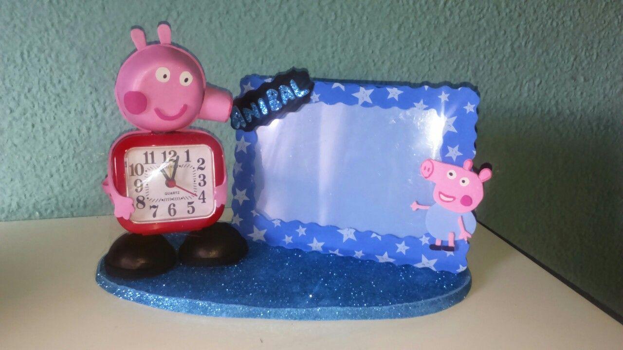Reloj de peppa pig con marco personalizado en goma eva | MyArt ...