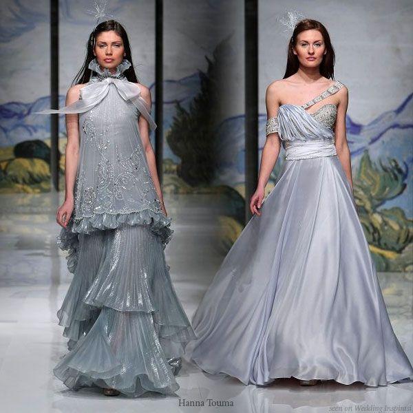 Hanna Touma Beautiful Dresses | Blue wedding dresses, Silver wedding ...