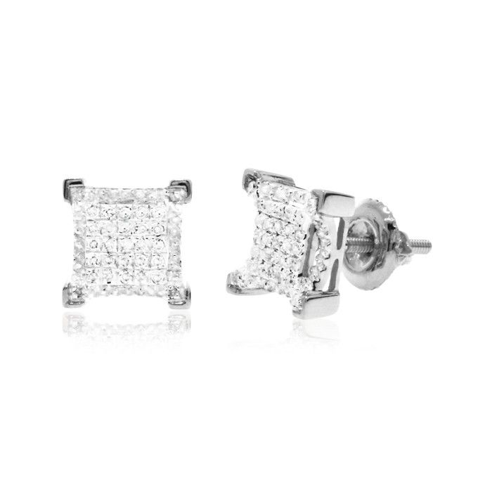 0 20 Ct White Round Brilliant Cut Diamond V G Square Men S Stud Earrings In 10k Gold