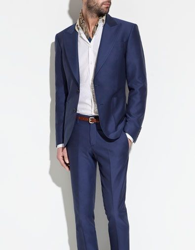 037c10bd2ccbc Sharkskin blue suit, kinda cool   wedding MAN   Blue suit men, Zara ...