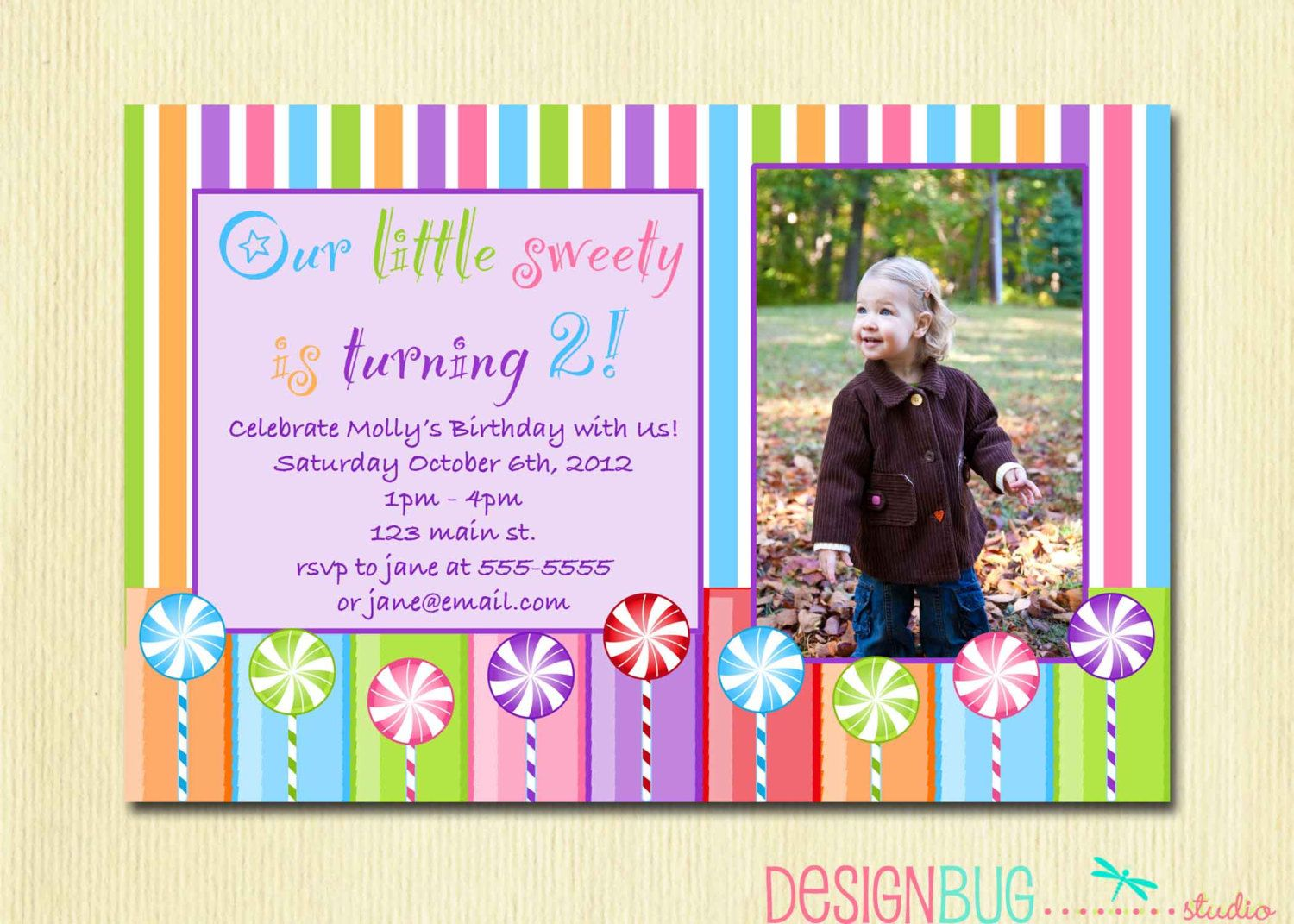 Girls Lollipop Birthday Party Invitation DIY Printable Candy - Birthday invitation message for 2 year old