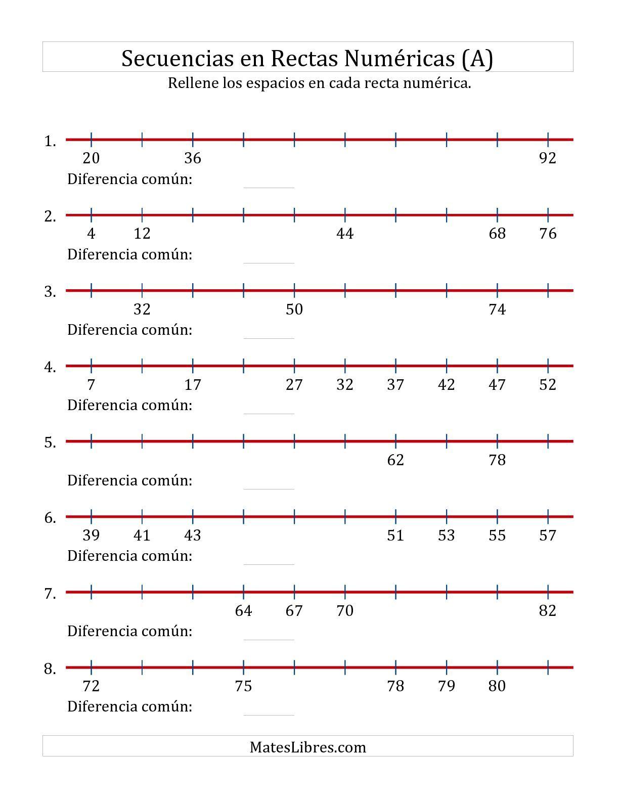 La hoja de ejercicios de matemáticas de Completar Espacios en Rectas ...