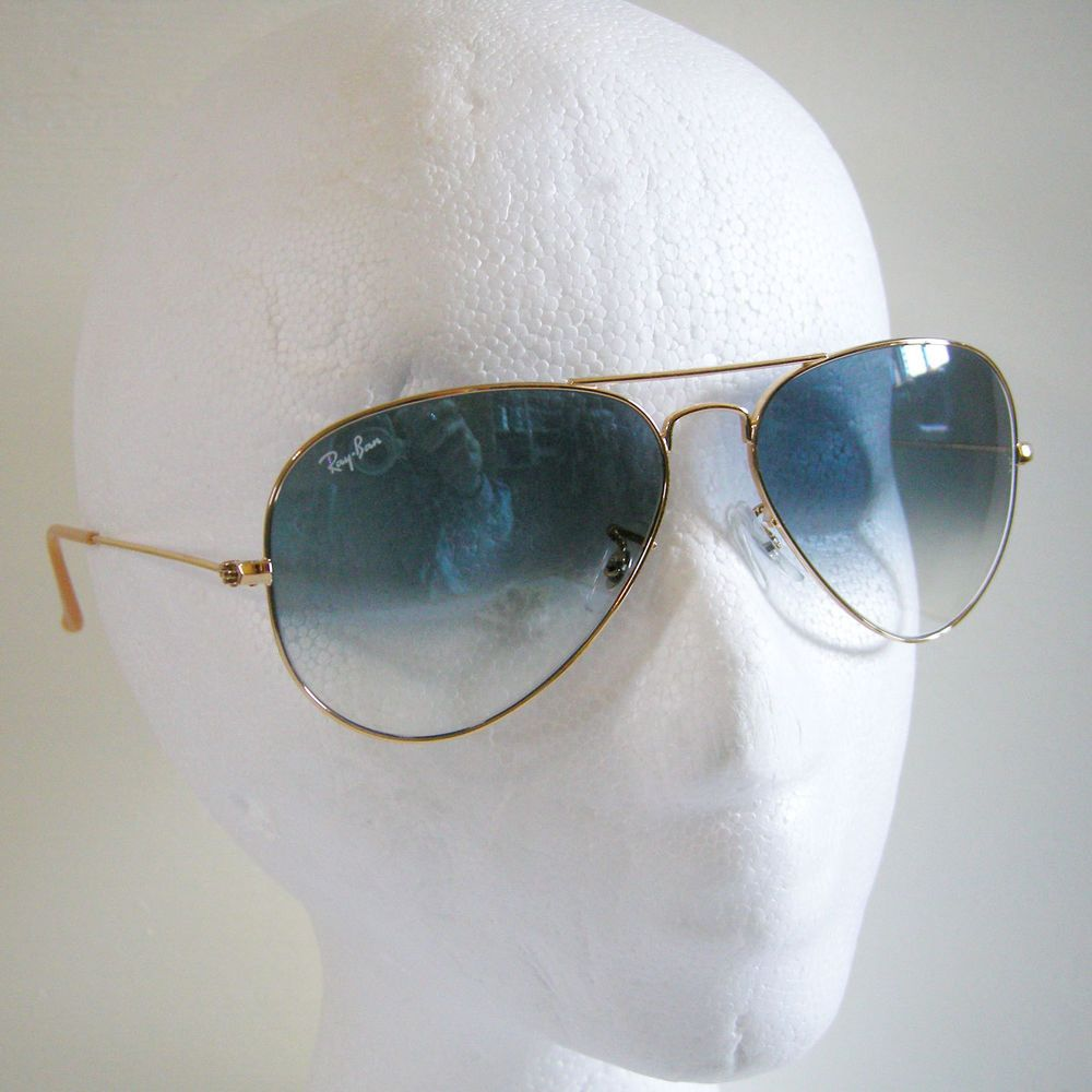 40d590c7e Ray-Ban Aviator 3025 001/3F Sunglasses Large Gold Blue Gradient Italy NO  CASE #RayBan