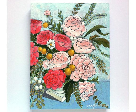 Original floral still life painting  From a by jenniferallevato
