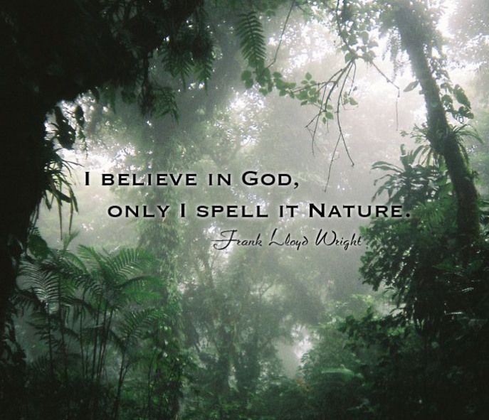 I believe in God, only I spell it Nature. --Frank Lloyd Wright (With images) | Inspirational ...