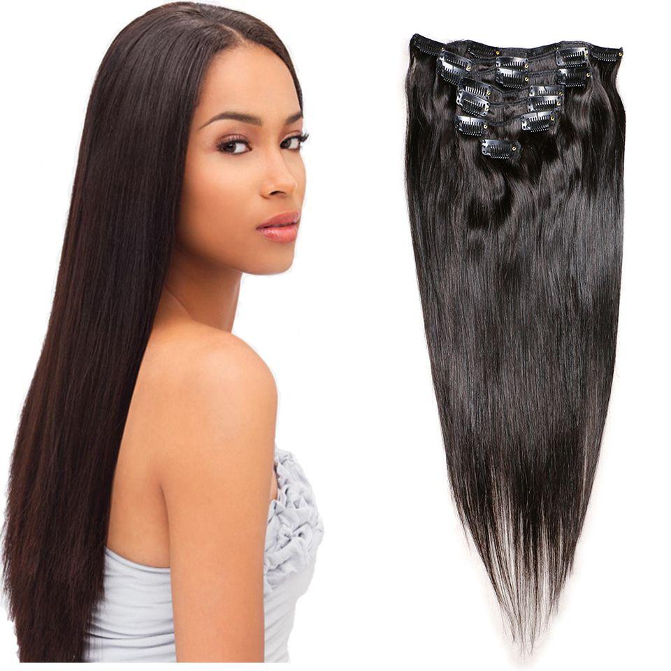 Clip In Human Hair Extensions Brazilian Virgin Hair Straight Clip In